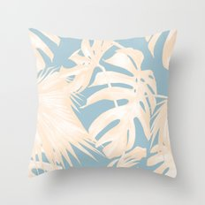 Island Vacay Hibiscus Palm Pale Coral Sky Blue Throw Pillow