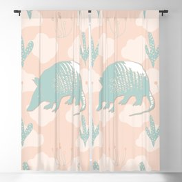 Armadillo, Cactus, and Clouds on Light Orange Blackout Curtain