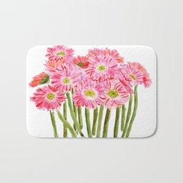 Pink Gerbera Daisy watercolor Bath Mat