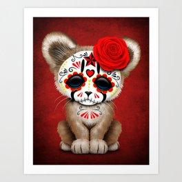 Red Day of the Dead Sugar Skull Cougar Cub Art Print
