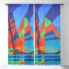 Cubist Abstract Junk Boat Against Deep Blue Sky Blackout Curtain