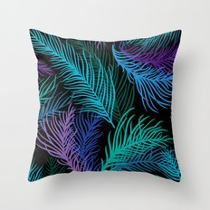 Multicolored palm leaves Throw Pillow