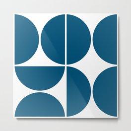 Mid Century Modern Blue Square Metal Print
