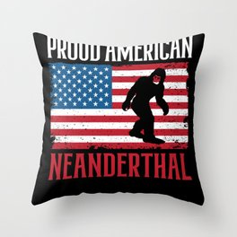 Proud American Neanderthal Thinking Caveman USA Throw Pillow
