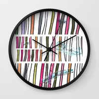 swimming Wall Clocks featuring Swimming by Lidia Ganhito
