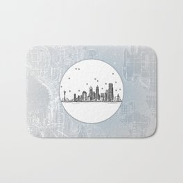 Seattle, Washington City Skyline Illustration Drawing Bath Mat