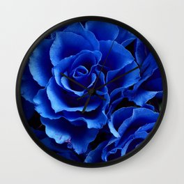 Blue Roses Flowers Plant Romance Wall Clock