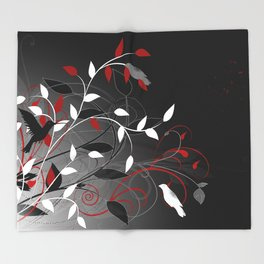 Nature in black, white and red. Throw Blanket