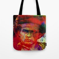 james franco Tote Bags featuring James  by Ganech joe