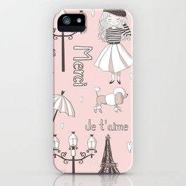 Paris Girl - Pink iPhone Case