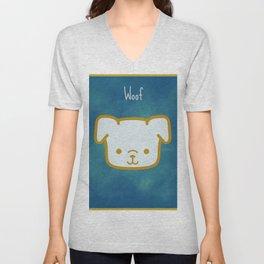 Woof - Dog Graphic - Chalkboard Inspired Unisex V-Neck