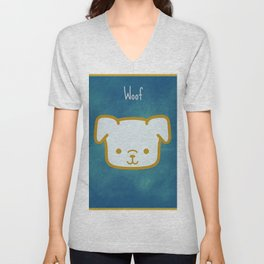 Woof - Dog Graphic - Chalkboard Inspired Unisex V-Neck