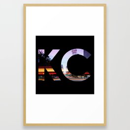 Kansas City KC Western Auto Night Framed Art Print