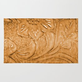 Golden Tan Tooled Leather Rug