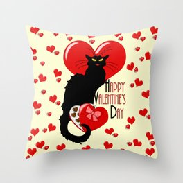 Le Chat Noir with Chocolate Candy Gift Throw Pillow