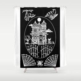 Ominous Victorian House Invert Shower Curtain
