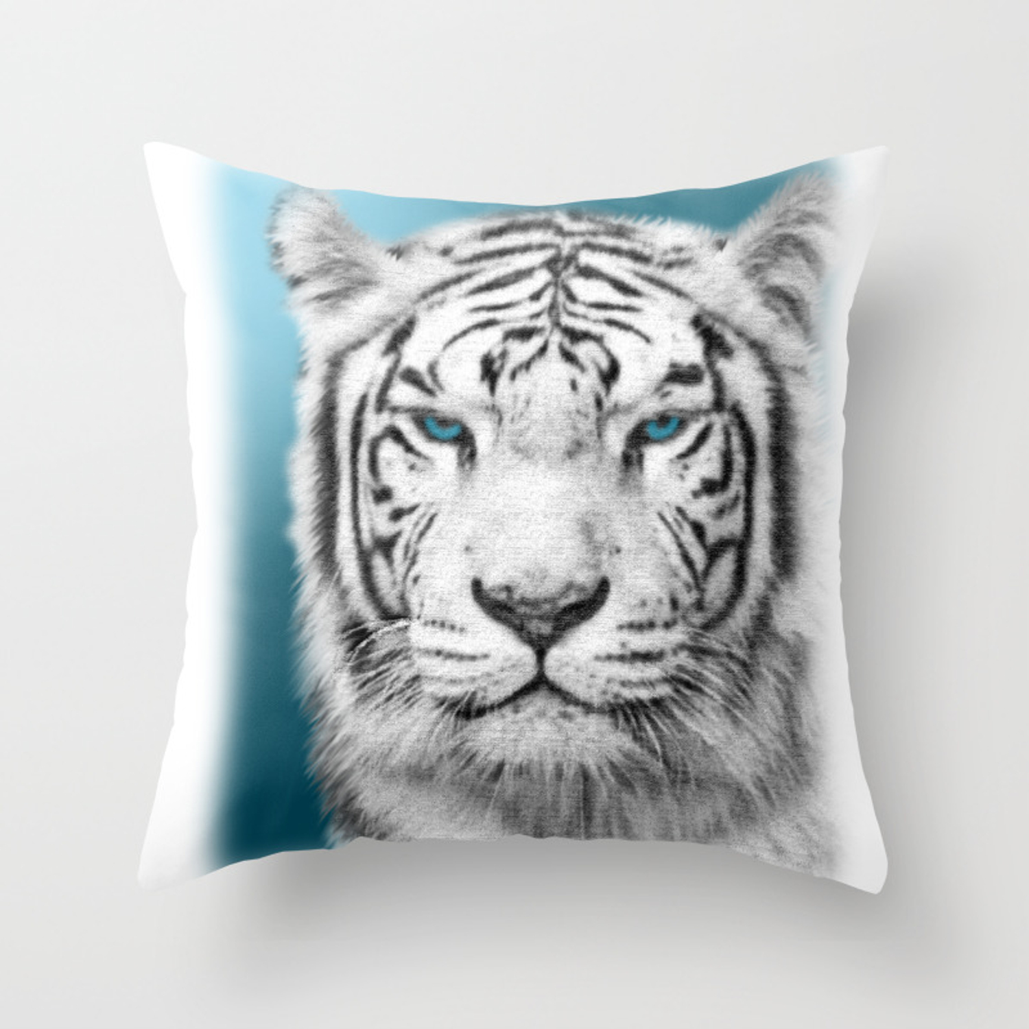 Blue Eyed White Tiger Throw Pillow By Naturessol Society6