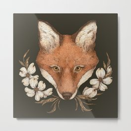 The Fox and Dogwoods Metal Print