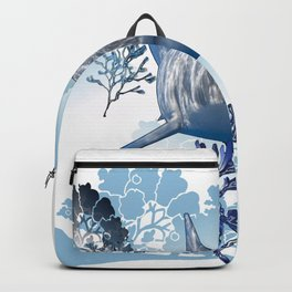 Blue shark coral seaweed wall hanging home deco Backpack