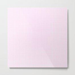 Baby Pink Grid Metal Print