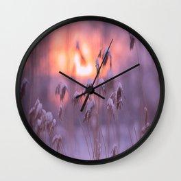 Snowy Reeds Sunset Purple Tone #decor #society6 #homedecor #buyart Wall Clock