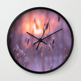 Snowy Reeds Sunset Purple Tone #decor #society6 #buyart Wall Clock