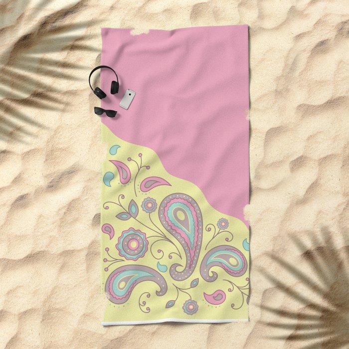 Paisley Pink Pattern Beach Towel