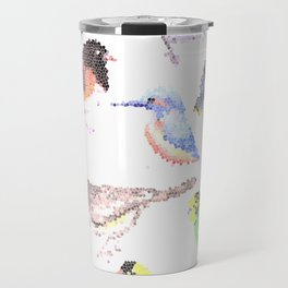 colorful birds stained glass art- budgie cardinal goldfinch titmouse kingfisher cedar waxwing juncos Travel Mug