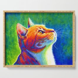 Rainbow Cat Portrait Serving Tray