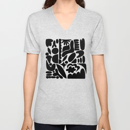Modern Organic Bold Botanical Abstract / Black and White Unisex V-Neck