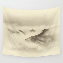 Mountain light BW. Foggy monochrome sunrise Wall Tapestry