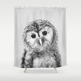 Baby Owl - Black & White Shower Curtain