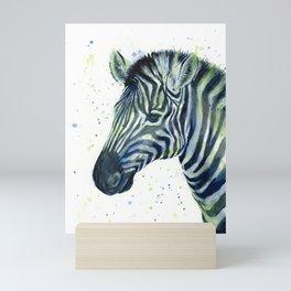 Zebra Watercolor Blue Green Animal Mini Art Print