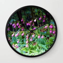 Wild Orchid Lady Slipper Forest Flowers Found in Rhode Island Wall Clock