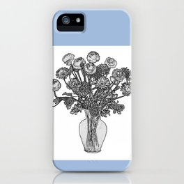 Spring Flowers in Vase on Robin's Egg Blue Background iPhone Case