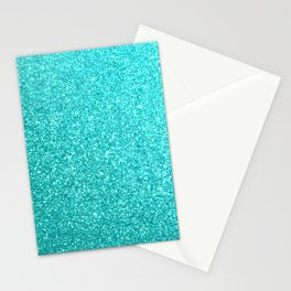 Aqua Blue Glitter Stationery Cards