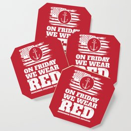 On Friday We Wear Red Navy Military Coaster