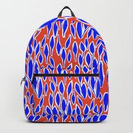 leaves pattern blue orange Backpack