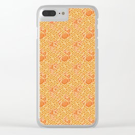 Orange Chrysanthemum Auspicious Sayagata Japanese Kimono Pattern Clear iPhone Case