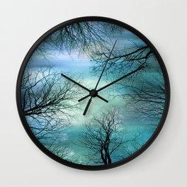 Black Trees Aqua Teal Blue Sky Wall Clock