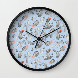 Cactus Pattern Watercolor | Cacti Peach and Gray, Orange and Blue Wall Clock