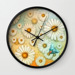 """""""Turquoise Moth &  Marguerites"""" Wall Clock"""