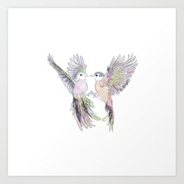 wedding birds, Birds of paradiese, Birds in love tropical bird home decor Art Print
