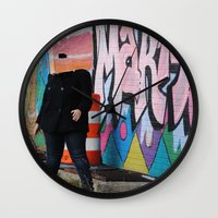 detroit Wall Clocks featuring Detroit Graffiti by ashurcollective
