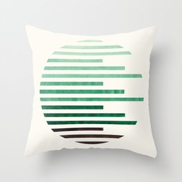 Mid Century Modern Minimalist Circle Round Photo Aquamarine Teal Green Staggered Stripe Pattern Throw Pillow