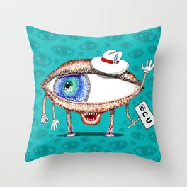 Pointillism Eye Guy Throw Pillow