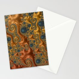 Copper Leaves-Teal  Stationery Cards