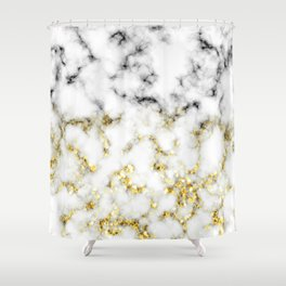 Black and white marble gold sparkle flakes Shower Curtain