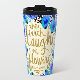 The Earth Laughs in Flowers – Gold & Blue Travel Mug