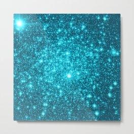 Turquoise Teal Sparkle Stars Metal Print